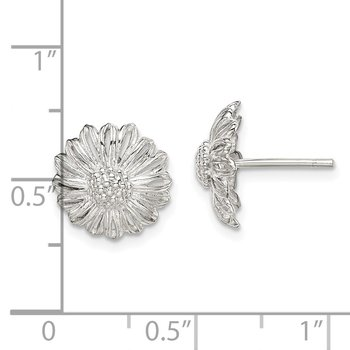 Sterling Silver Antiqued Sunflower Post Earrings