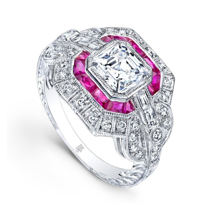Vintage Style Halo Bridal Ring with Rubies