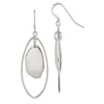 Sterling Silver Dangle Oval Earrings