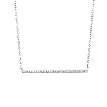 Silver Thin CZ Bar Necklace