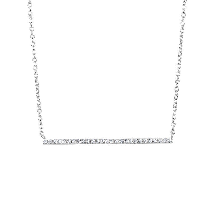 Royal Chain Silver Thin CZ Bar Necklace