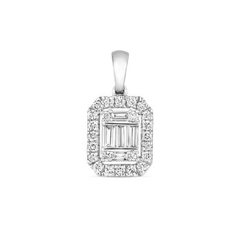 Diamond Cluster Pendant Emerald