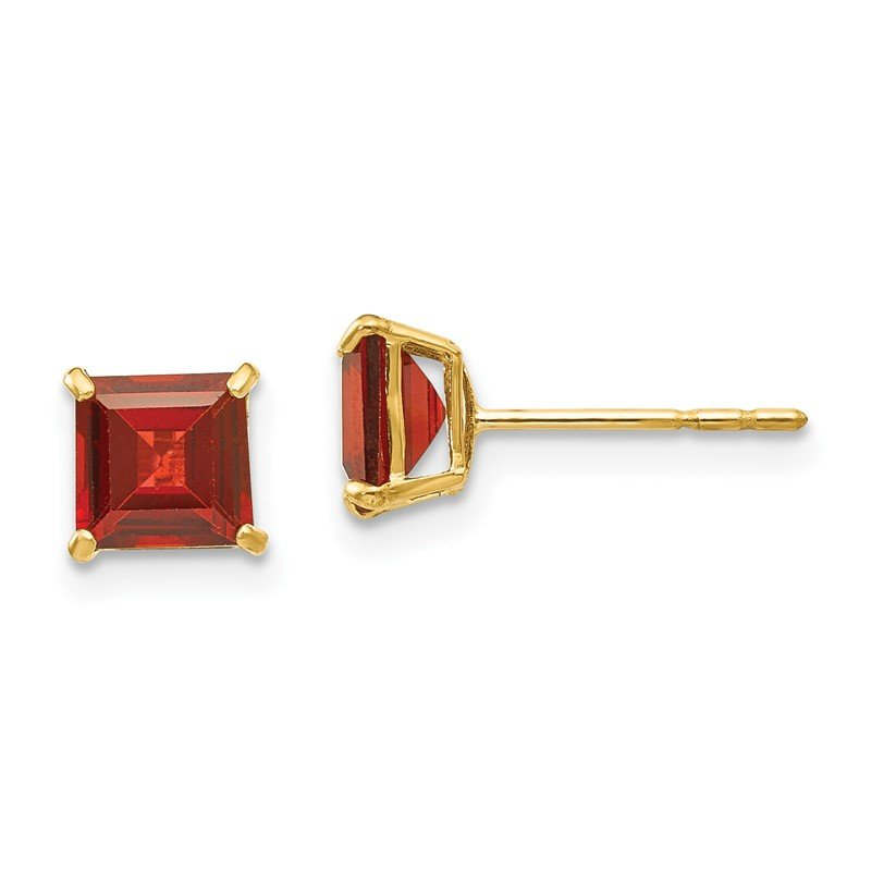 Quality Gold 14k Madi K Garnet 5mm Square Post Earrings