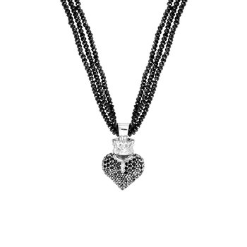 Black Spinel Necklace W/ Black 3D Pave Cz Crowned Heart