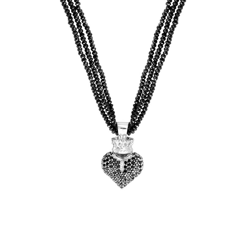 King Baby Black Spinel Necklace W/ Black 3D Pave Cz Crowned Heart