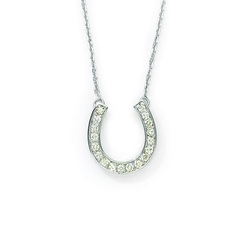 14k White Gold .25ct  Diamond Horseshoe Pendant