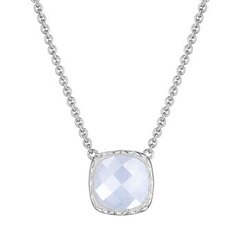 Cushion Gem Necklace with Chalcedony