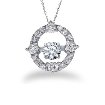 14K White Gold Dashing Diamonds Heartbeat Pendant