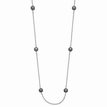 14K WG 4-5mm Black Near Round Freshwater Cultured Pearl 8-station Necklace