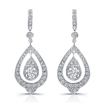Vintage Teardrop Diamond Earrings