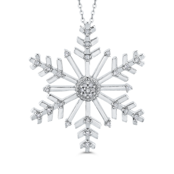 0.12 Ct Diamond Snow Flake Pendant with Chain