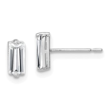10K White Gold Polished CZ Stud Earrings