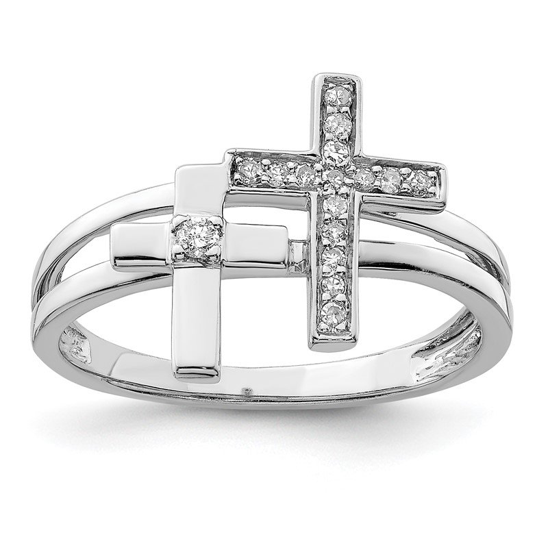 Quality Gold Sterling Silver Rhodium Diam. Crosses Ring