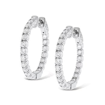 Diamond Inside Outside Hoop Earrings in 14k White Gold with 40 Diamonds weighing 1.82ct tw.