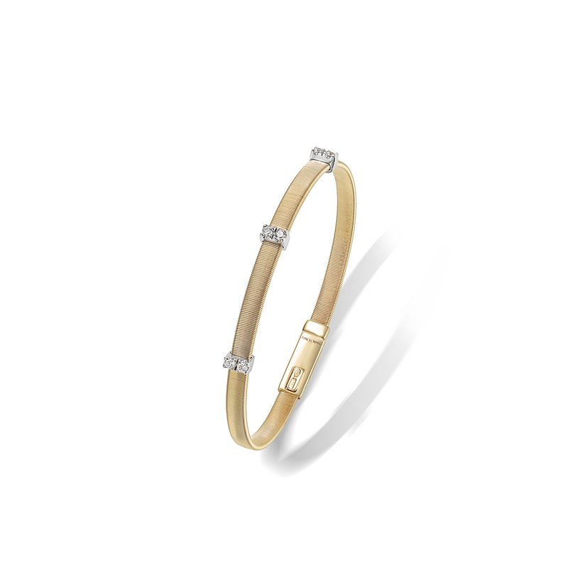Marco Bicego Masai Collection 18K Yellow Gold and Diamond Single Strand Bracelet