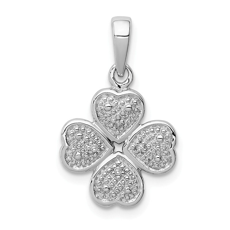Quality Gold Sterling Silver Rhodium Plated Diamond Heart Clover Pendant