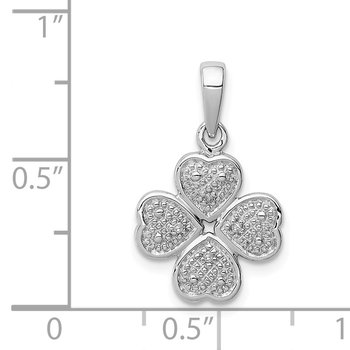 Sterling Silver Rhodium Plated Diamond Heart Clover Pendant