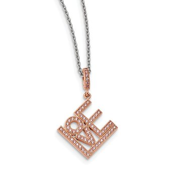 Sterling Silver Rose Gold-plated CZ Brilliant Embers Love Necklace
