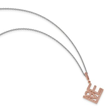 Sterling Silver Brilliant Embers Rose Gold-plated CZ Love Necklace
