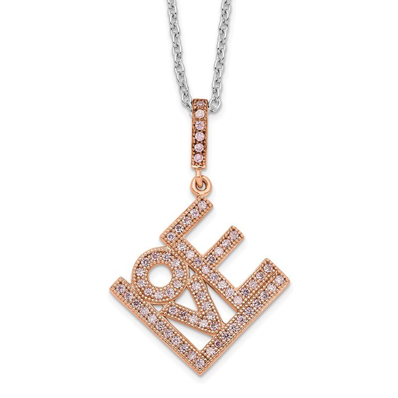 Quality Gold Sterling Silver Brilliant Embers Rose Gold-plated CZ Love Necklace