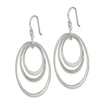 Sterling Silver Polished Triple Oval Dangle Earrings