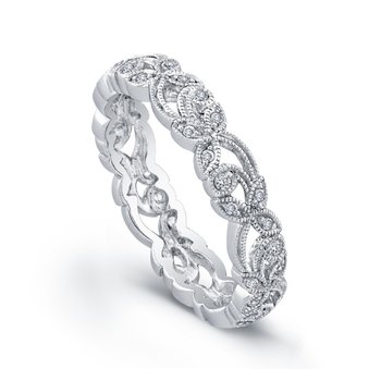Thin Petal Floral Diamond Band