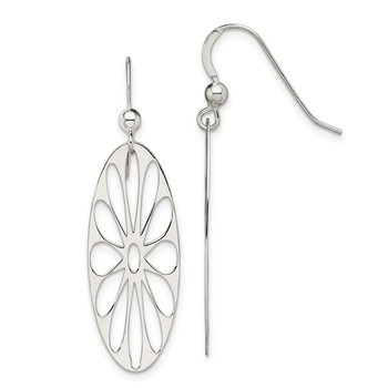Sterling Silver Polished Floral Dangle Earrings