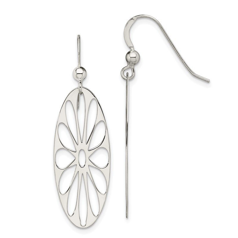 Quality Gold Sterling Silver Polished Floral Dangle Earrings