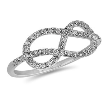 14K WG Double Infinity Design Ring in Prong Setting