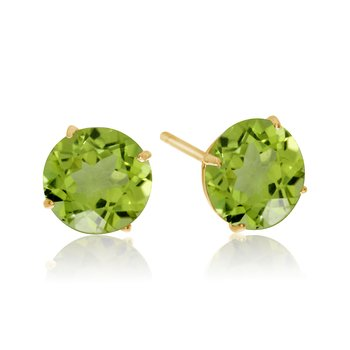 6mm Round 14k Yellow Gold Peridot Stud Earrings