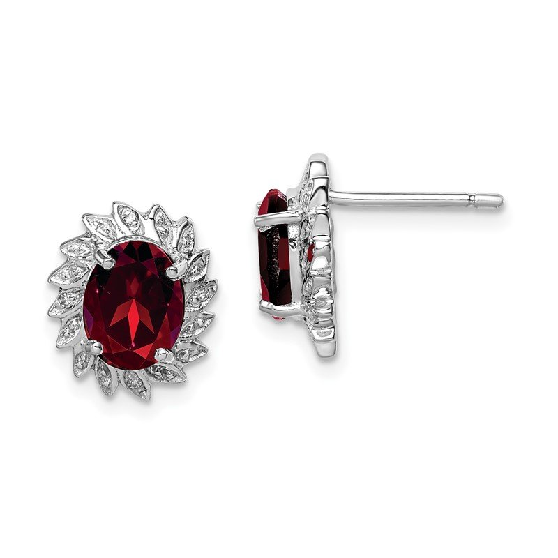 Quality Gold Sterling Silver Rhodium Garnet & Diamond Post Earrings