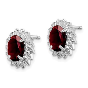 Sterling Silver Rhodium Garnet & Diamond Post Earrings