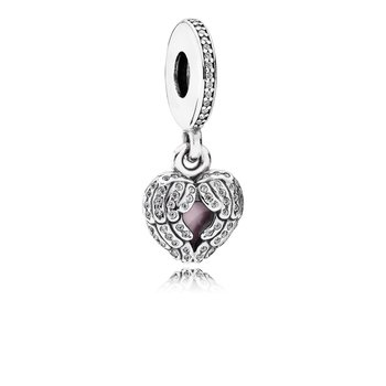 Angel Wings, Clear Cz Pink Enamel