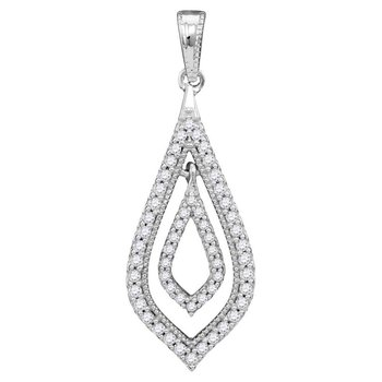10kt White Gold Womens Round Diamond Oblong Nested Oval Frame Pendant 1/4 Cttw