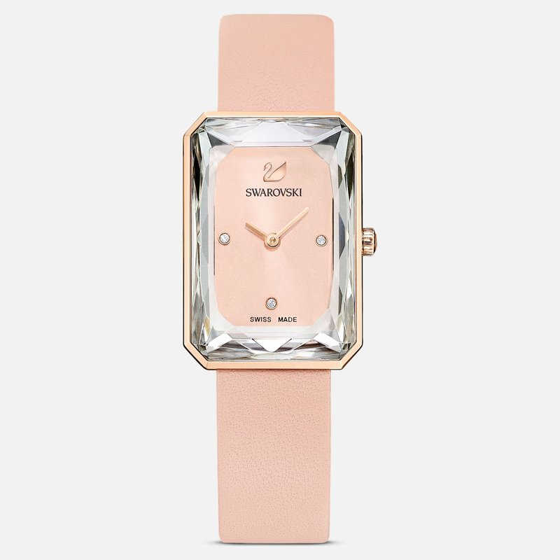 Swarovski Uptown Watch, Leather strap, Pink, Rose-gold tone PVD