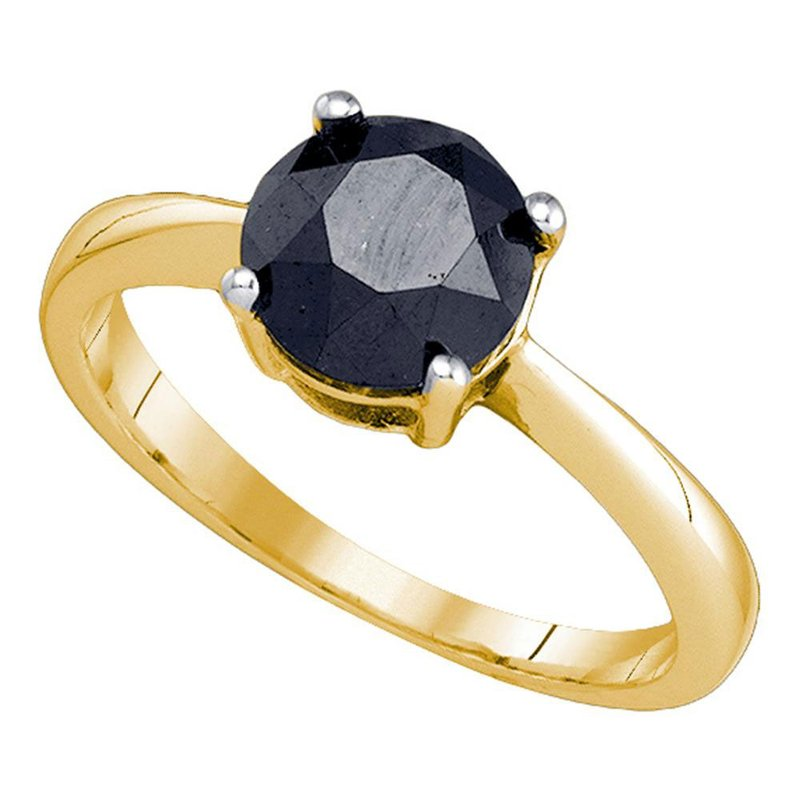 Gold-N-Diamonds, Inc. (Atlanta) 10kt Yellow Gold Round Black Color Enhanced Diamond Solitaire Bridal Wedding Engagement Ring 2.00 Cttw