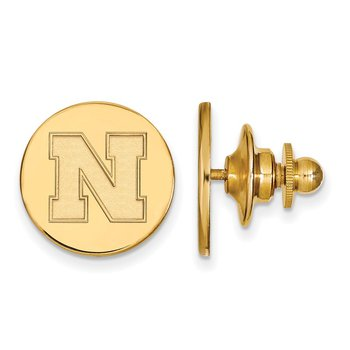 Gold-Plated Sterling Silver University of Nebraska NCAA Lapel Pin