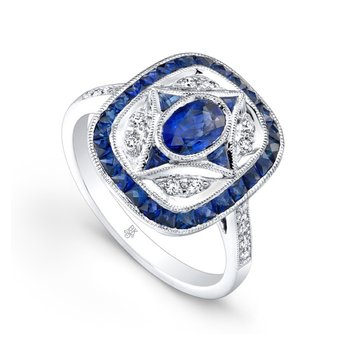 Square Halo Oval Center Ring with Sapphires