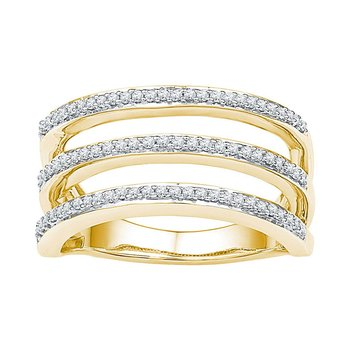 10kt Yellow Gold Womens Round Diamond Striped Band Ring 1/4 Cttw