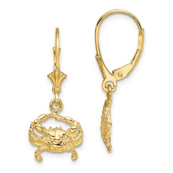 14K 2-D Blue Crab Leverback Earrings