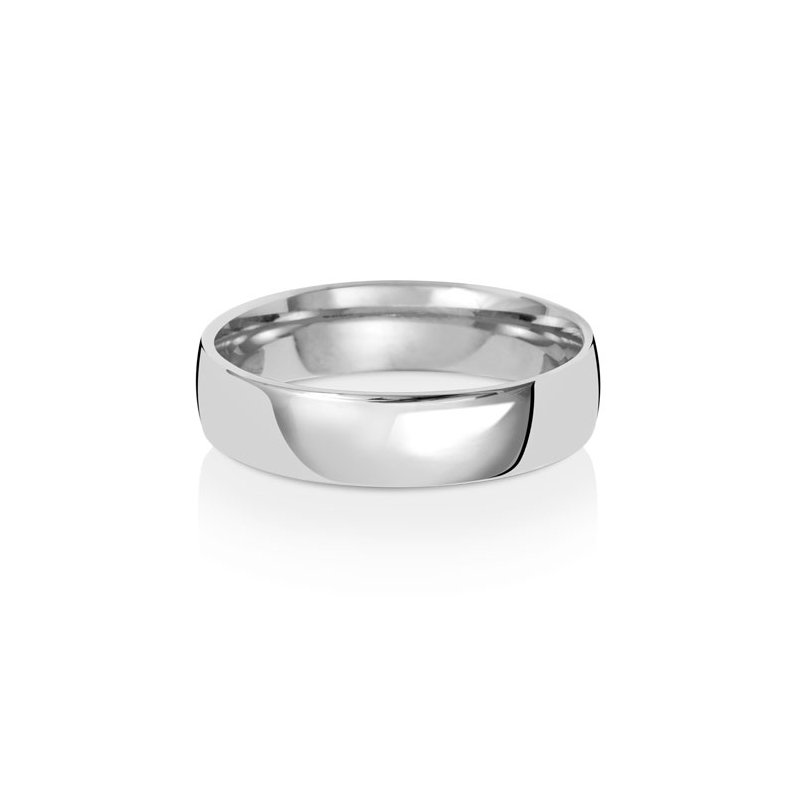 Treasure 9Ct White Gold 5mm Slight Court Wedding Ring