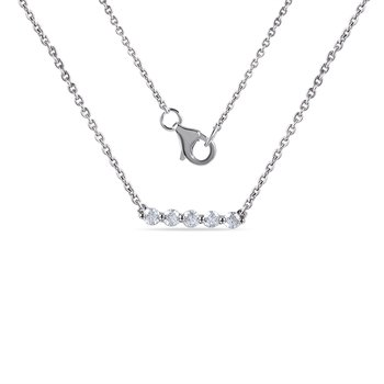 "14K bar Necklace with 5 Diamonds 0.25C 18"" chain"