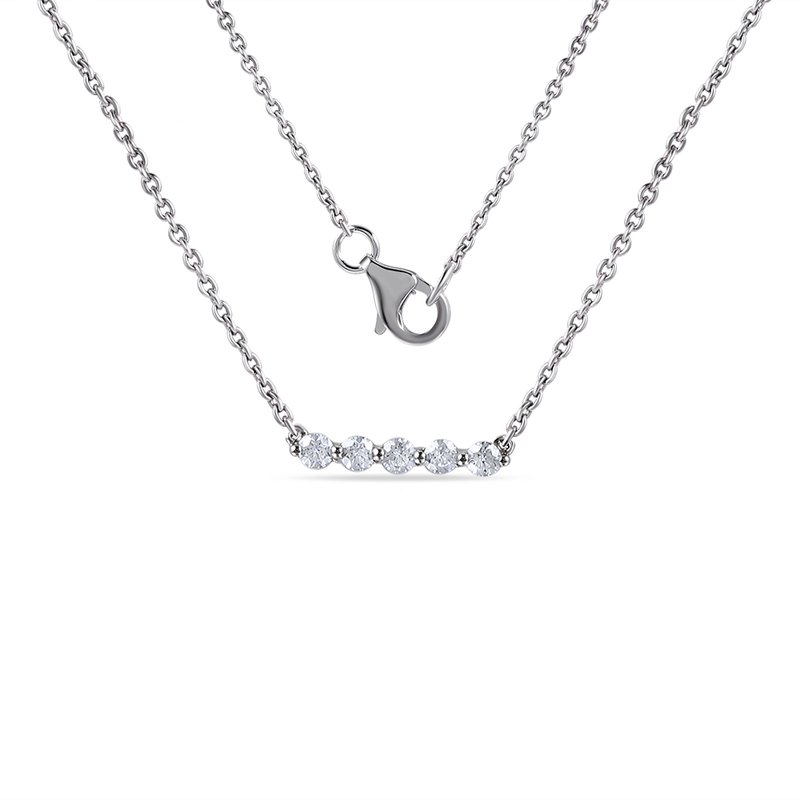 "Shula NY 14K bar Necklace with 5 Diamonds 0.25C 18"" chain"