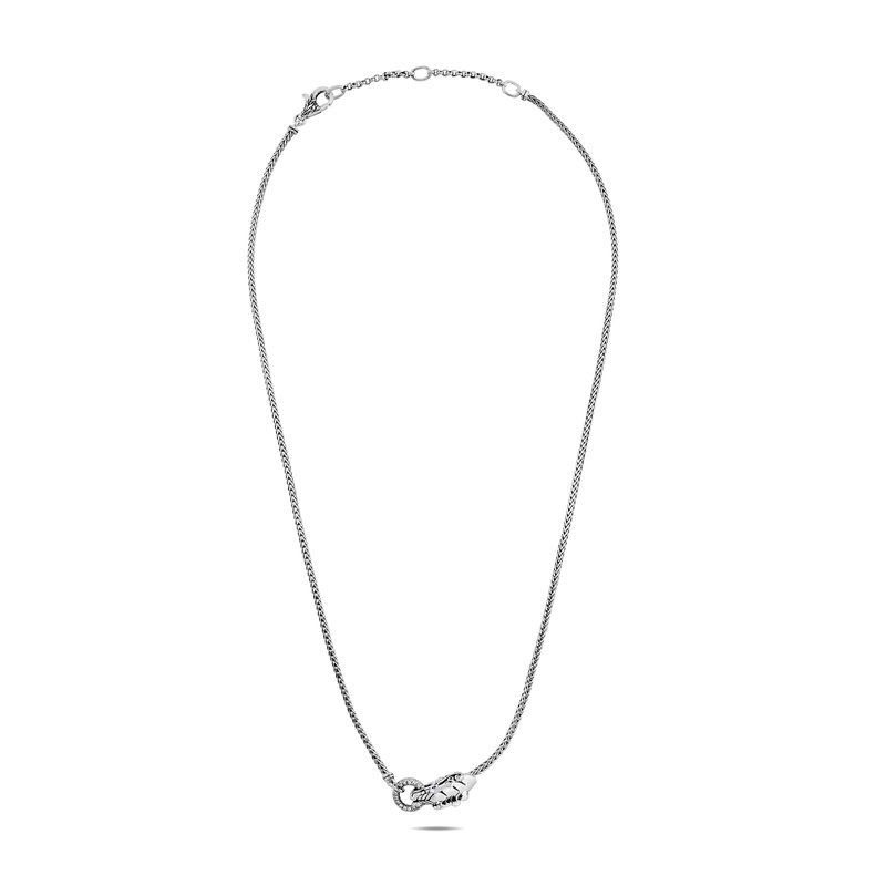 JOHN HARDY Legends Naga 2.5MM Necklace in Silver with Diamonds