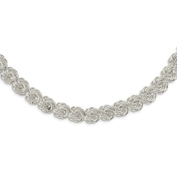 Sterling Silver Polished Circles Fancy Link Necklace