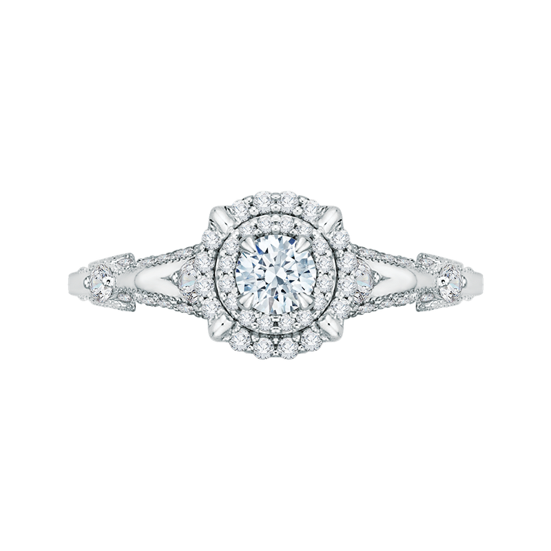 Promezza 14K White Gold Round Diamond Double Halo Vintage Engagement Ring