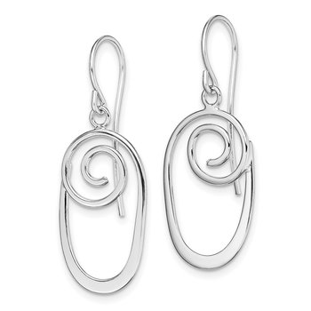 Sterling Silver Rhodium-plated Oval Swirl Dangle Earrings