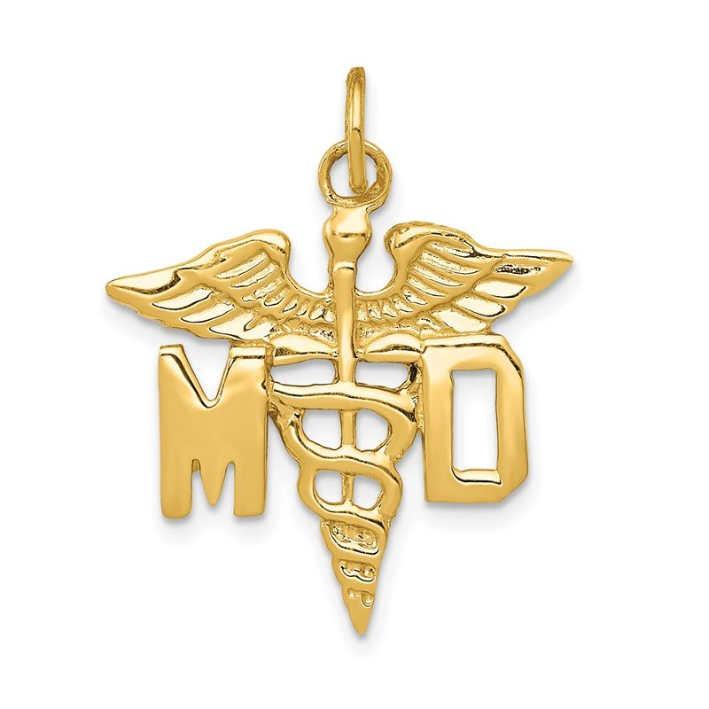 Quality Gold 14k Large M.D. Caduceus Charm