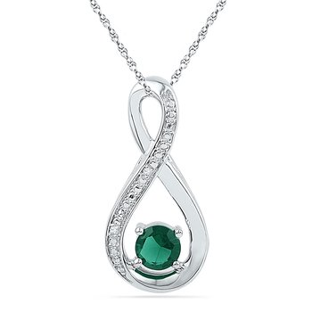 10kt White Gold Womens Round Lab-Created Emerald Infinity Diamond Pendant 1/2 Cttw