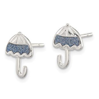 Sterling Silver Glitter Infused Umbrella Post Earrings